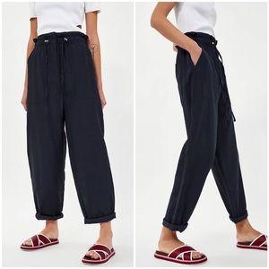 Zara Paperbag Waist Drawstring Technical Trousers
